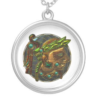 Mayan Ornament 4 Round Pendant Necklace