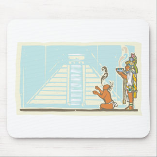 Mayan Priest Sacrifice and Pyramid Mouse Pad