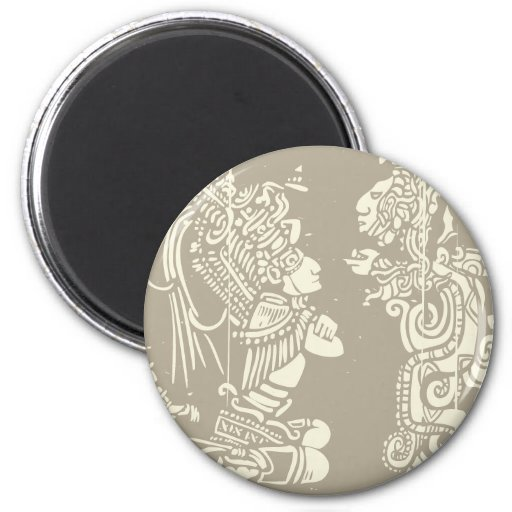 Mayan priests and Vision Serpent 2 Inch Round Magnet