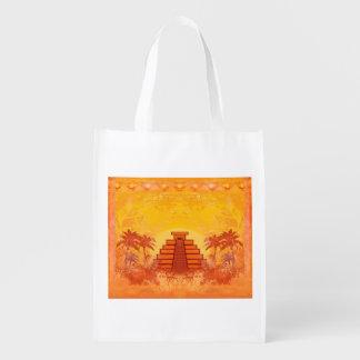 Mayan Pyramid, Mexico Reusable Grocery Bag