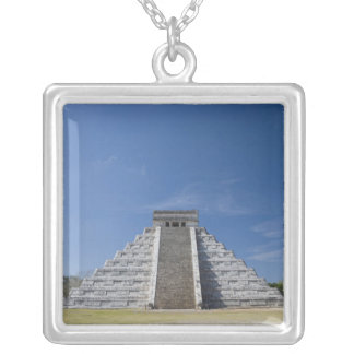 Mayan Pyramid, Morning in March Silver Plated Necklace