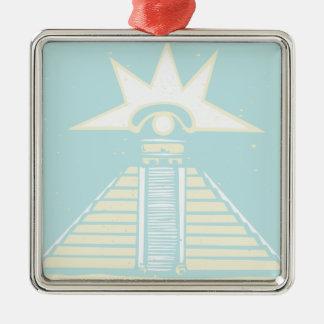 Mayan Pyramid with Venus Eye Glyph Metal Ornament