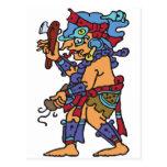 Mayan Rain God Colored Postcard