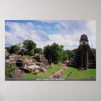 Mayan remains, Tikal, Guatemala Poster