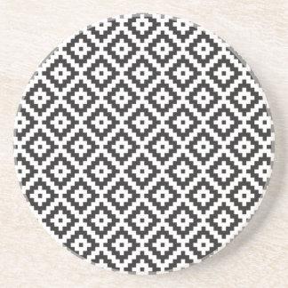 Mayan Rose Pearl Monogram Black White Knit Drink Coaster