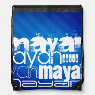 Mayan; Royal Blue Stripes Drawstring Bag
