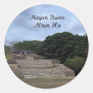 Mayan Ruins, Altun Ha Classic Round Sticker