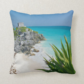 Mayan Ruins At The Beach In Tulum Throw Pillow