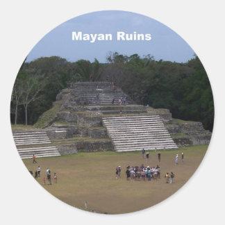 Mayan Ruins Classic Round Sticker