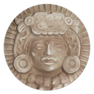 mayan sculpture plate