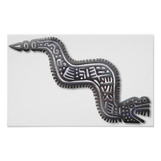 Mayan Serpent - Black and Silver Poster