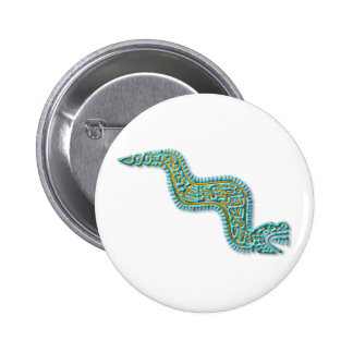 Mayan Serpent-turquoise and gold Pinback Button