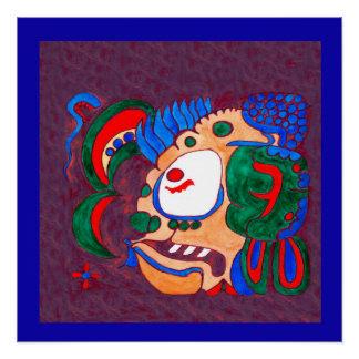 MAYAN SPIRIT KAI YUM- PURPLE AND BRIGHT BLUE POSTER
