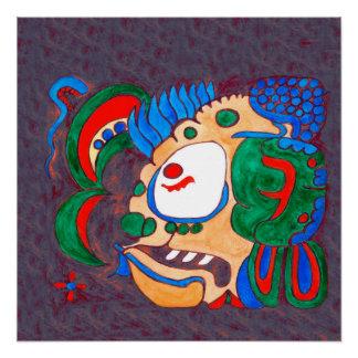 MAYAN SPIRIT KAI YUM- RED AND BLUE BACKGROUND POSTER