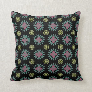 Mayan Star Throw Pillow - Blue Pink Gold on Black
