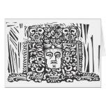 Mayan Stele Head Greeting Card