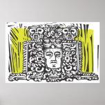 Mayan Stele Head Posters