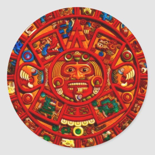 MAYAN Sun Calendar of Mexico (Red version) Classic Round Sticker