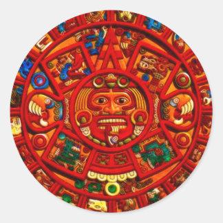 MAYAN Sun Calendar of Mexico Red version Sticker