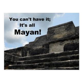 Mayan Sun God Temple; Belize Post Card