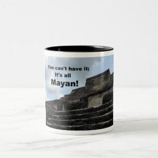 Mayan Sun God Temple; Belize Two-Tone Coffee Mug