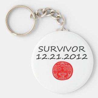 Mayan Survivor doomsday 12 21 2012 Basic Round Button Keychain