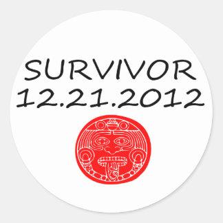 Mayan Survivor doomsday 12 21 2012 Classic Round Sticker