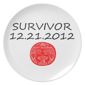 Mayan Survivor doomsday 12 21 2012 Melamine Plate
