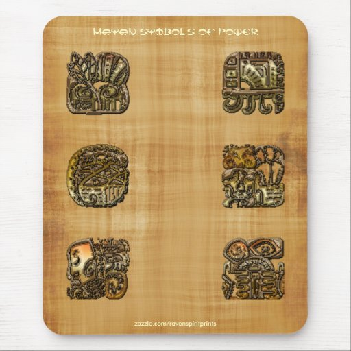 Mayan Symbols of Power on Papyrus Mousepad