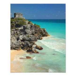 Mayan Temple and Caribbean Sea Photographic Print