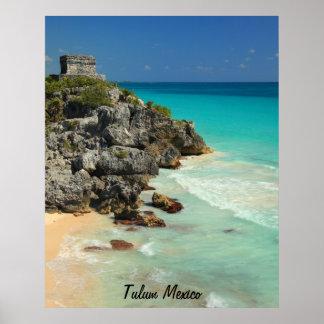 Mayan Temple and Caribbean Sea Poster
