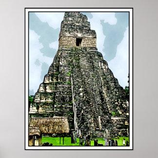 Mayan Temple at Tikal, Guatemala Poster