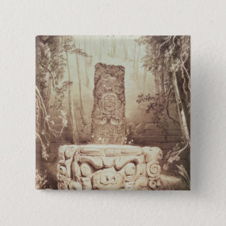 Mayan temple, Honduras Button