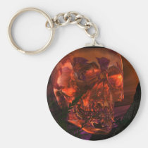 mayan, temple, with, crystal, skull, pyramid, skulls, pryamids, skeleton, skeletons, ancient, culture, fantasy, myth, realism, indiana, jones, ruins, fire, earth, water, air, elements, elemental, Keychain with custom graphic design