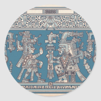 Mayan Tulum Mural Classic Round Sticker