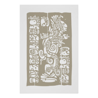 Mayan Vision Serpent and Glyphs Poster