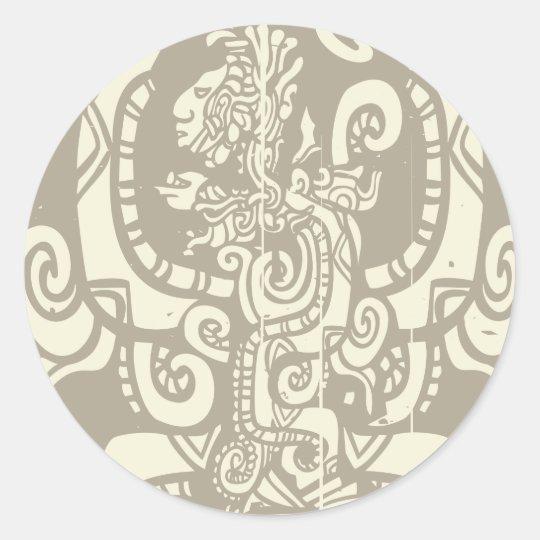 Mayan Vision Serpent Classic Round Sticker