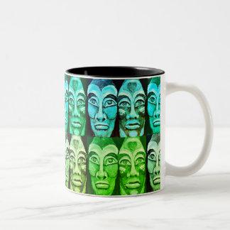 Mayan warriors - blue and gree painting surrealism Two-Tone coffee mug
