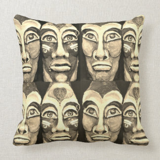 Mayan warriors - surrealism design - sepia color throw pillow