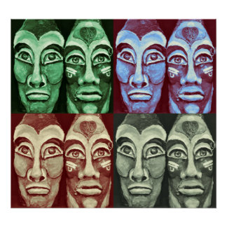 Mayan warriors - Surrealism Painted Artwork Poster