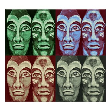 Aztec Themed Mayan warriors - Surrealism Painted Artwork Poster