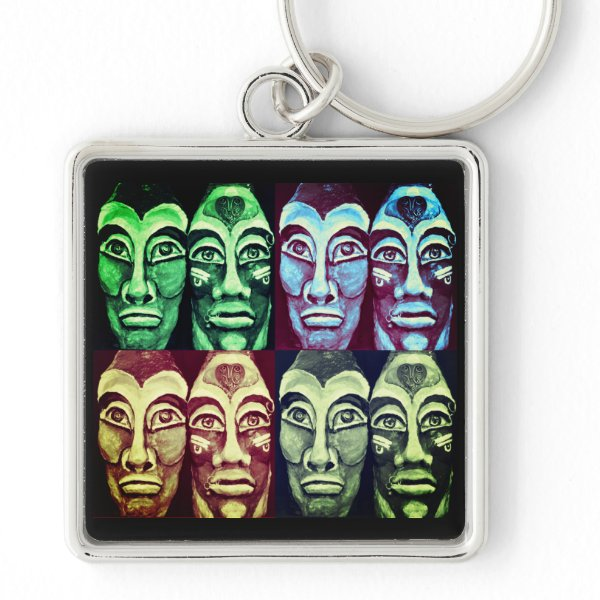 Mayan warriors - surrealism painted design keychain