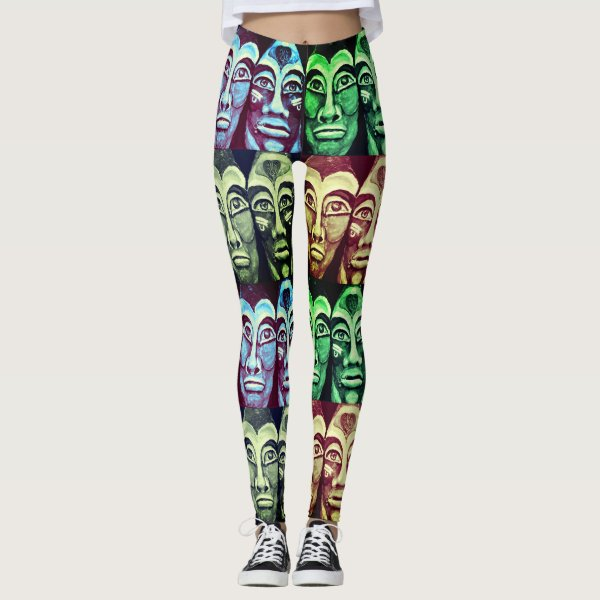 Mayan warriors - surrealism painted design leggings