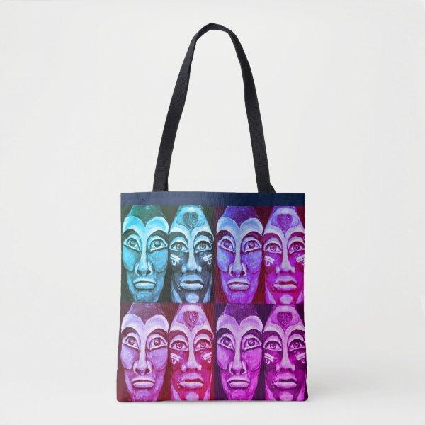 Mayan warriors - surrealism painted design tote bag