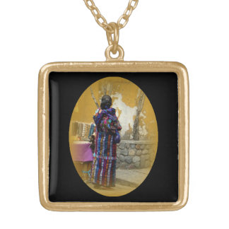 Mayan Woman in Panajachel Guatemala Gold Plated Necklace