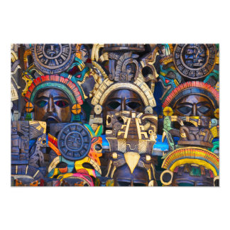 Mayan Wooden Masks for Sale Photo Print