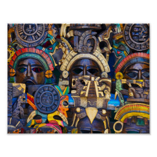 Mayan Wooden Masks for Sale Poster