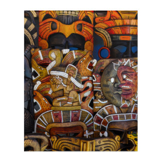 Mayan Wooden Masks in Mexico Acrylic Print