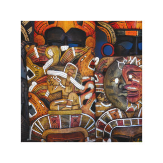 Mayan Wooden Masks in Mexico Canvas Print