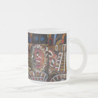 Mayan Wooden Masks in Mexico Frosted Glass Coffee Mug